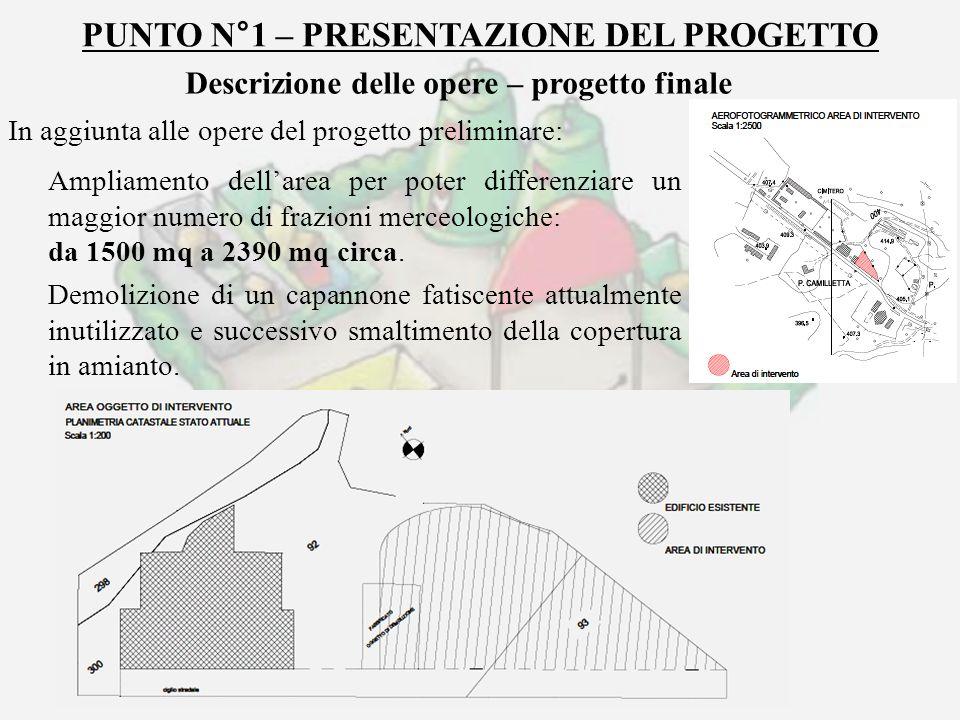 PUNTO N°1 – PRESENTAZIONE DEL PROGETTO Descrizione delle opere – progetto finale In aggiunta alle opere del progetto preliminare: Ampliamento dellarea
