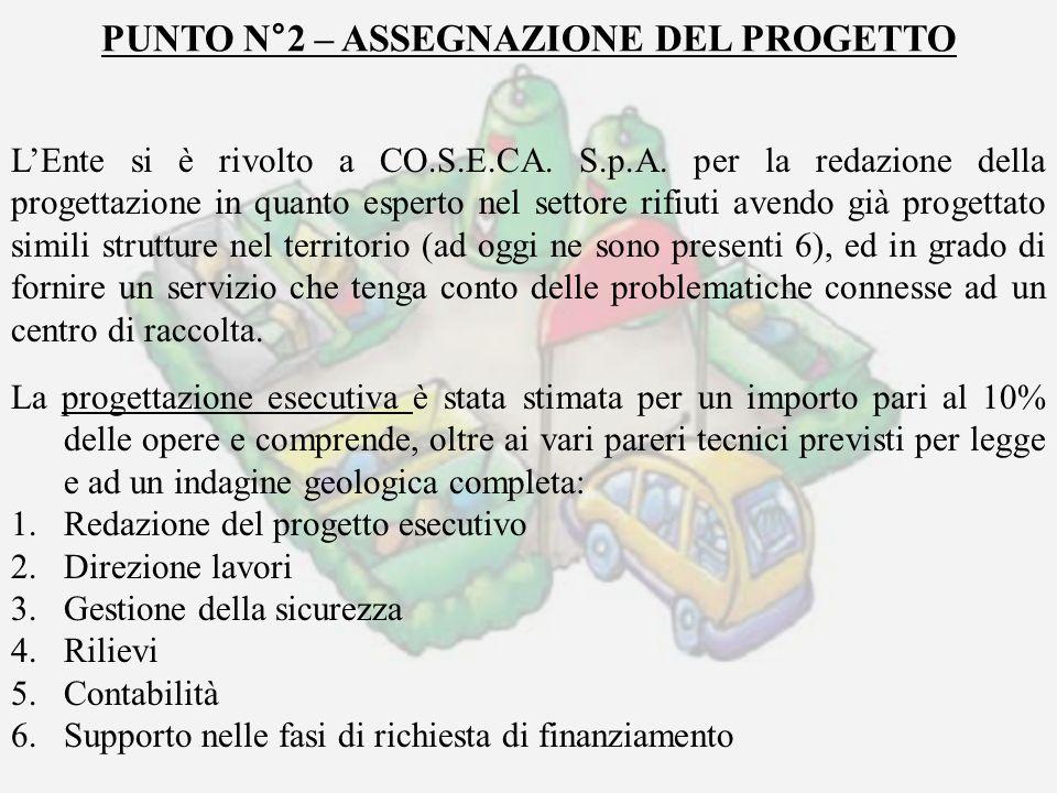 PUNTO N°2 – ASSEGNAZIONE DEL PROGETTO LEnte si è rivolto a CO.S.E.CA. S.p.A. per la redazione della progettazione in quanto esperto nel settore rifiut
