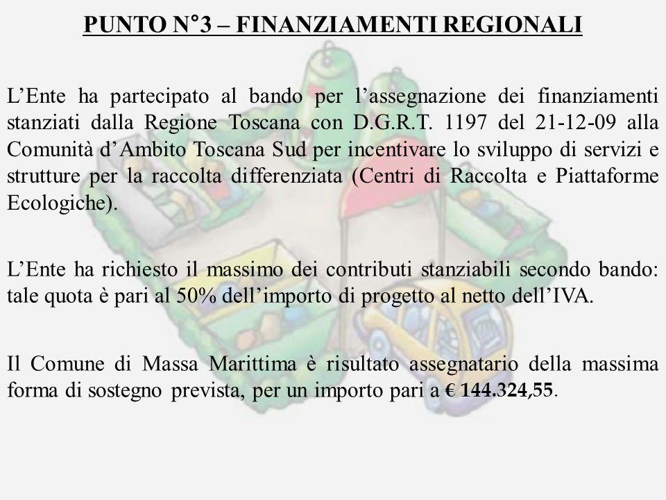 PUNTO N°3 – FINANZIAMENTI REGIONALI LEnte ha partecipato al bando per lassegnazione dei finanziamenti stanziati dalla Regione Toscana con D.G.R.T. 119