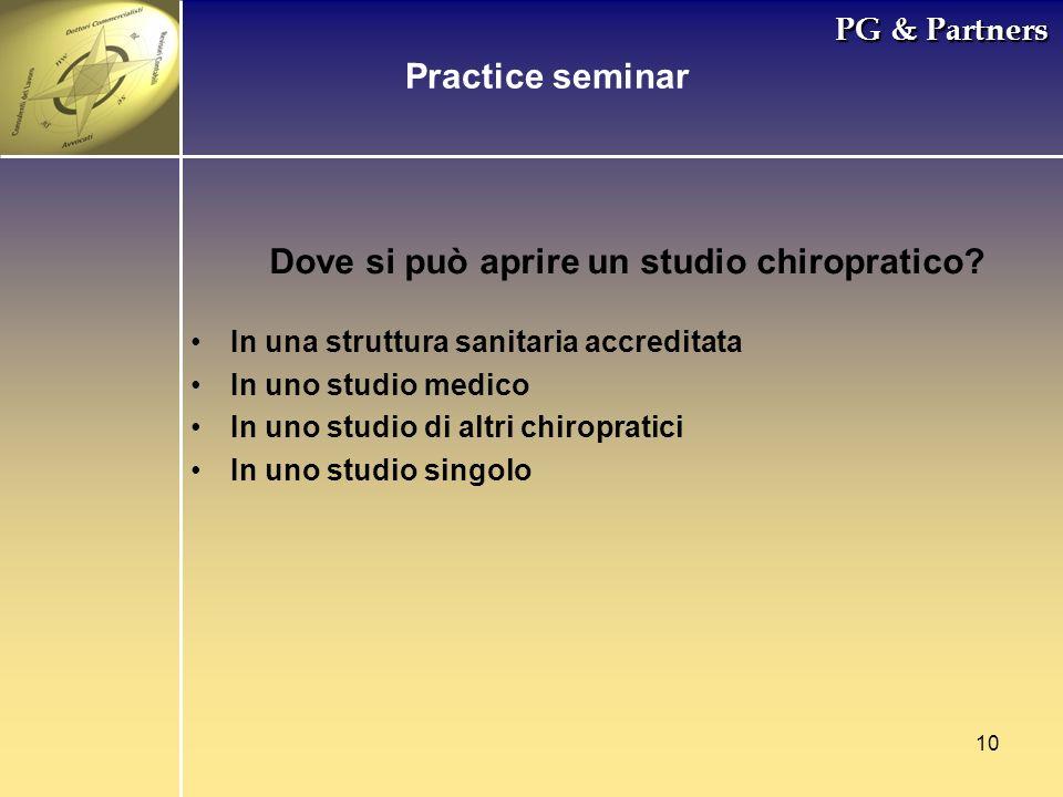 10 PG & Partners Dove si può aprire un studio chiropratico? In una struttura sanitaria accreditata In uno studio medico In uno studio di altri chiropr