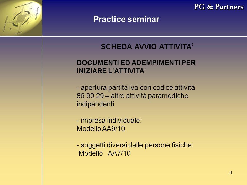 4 PG & Partners Practice seminar SCHEDA AVVIO ATTIVITA DOCUMENTI ED ADEMPIMENTI PER INIZIARE LATTIVITA - apertura partita iva con codice attività 86.9