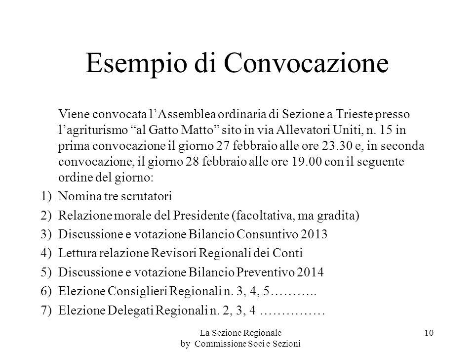 Esempio di Convocazione Viene convocata lAssemblea ordinaria di Sezione a Trieste presso lagriturismo al Gatto Matto sito in via Allevatori Uniti, n.