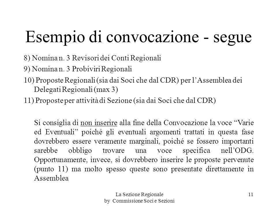 Esempio di convocazione - segue 8) Nomina n. 3 Revisori dei Conti Regionali 9) Nomina n.
