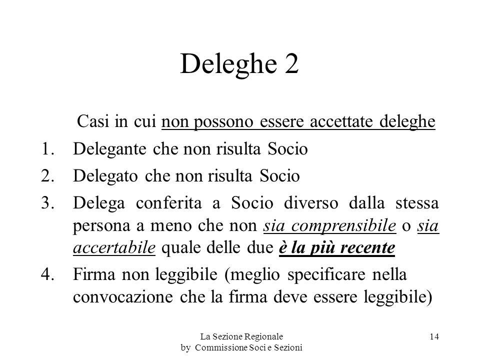 Deleghe 2 Casi in cui non possono essere accettate deleghe 1.Delegante che non risulta Socio 2.Delegato che non risulta Socio 3.Delega conferita a Socio diverso dalla stessa persona a meno che non sia comprensibile o sia accertabile quale delle due è la più recente 4.
