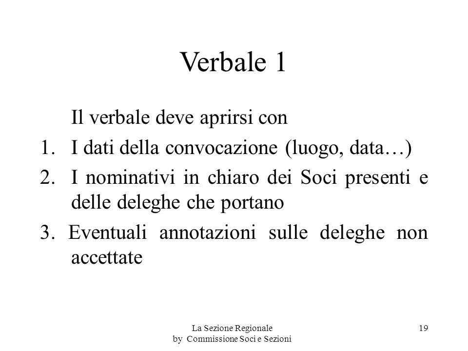 Verbale 1 Il verbale deve aprirsi con 1.I dati della convocazione (luogo, data…) 2.I nominativi in chiaro dei Soci presenti e delle deleghe che portano 3.