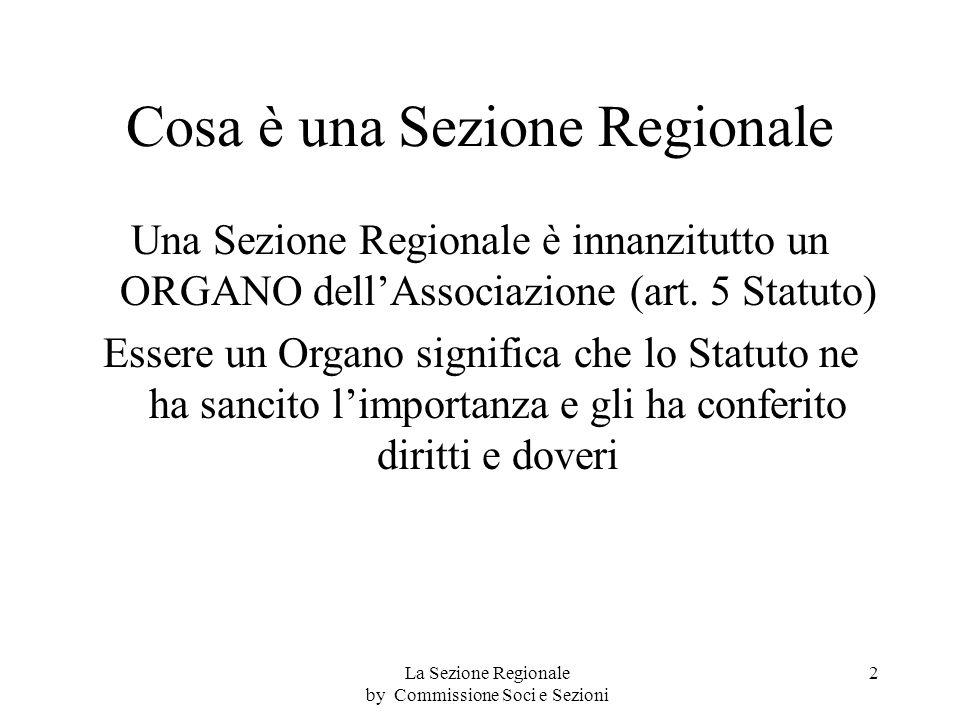Cosa è una Sezione Regionale Una Sezione Regionale è innanzitutto un ORGANO dellAssociazione (art.