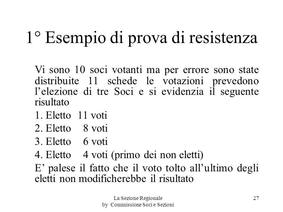 1° Esempio di prova di resistenza Vi sono 10 soci votanti ma per errore sono state distribuite 11 schede le votazioni prevedono lelezione di tre Soci e si evidenzia il seguente risultato 1.