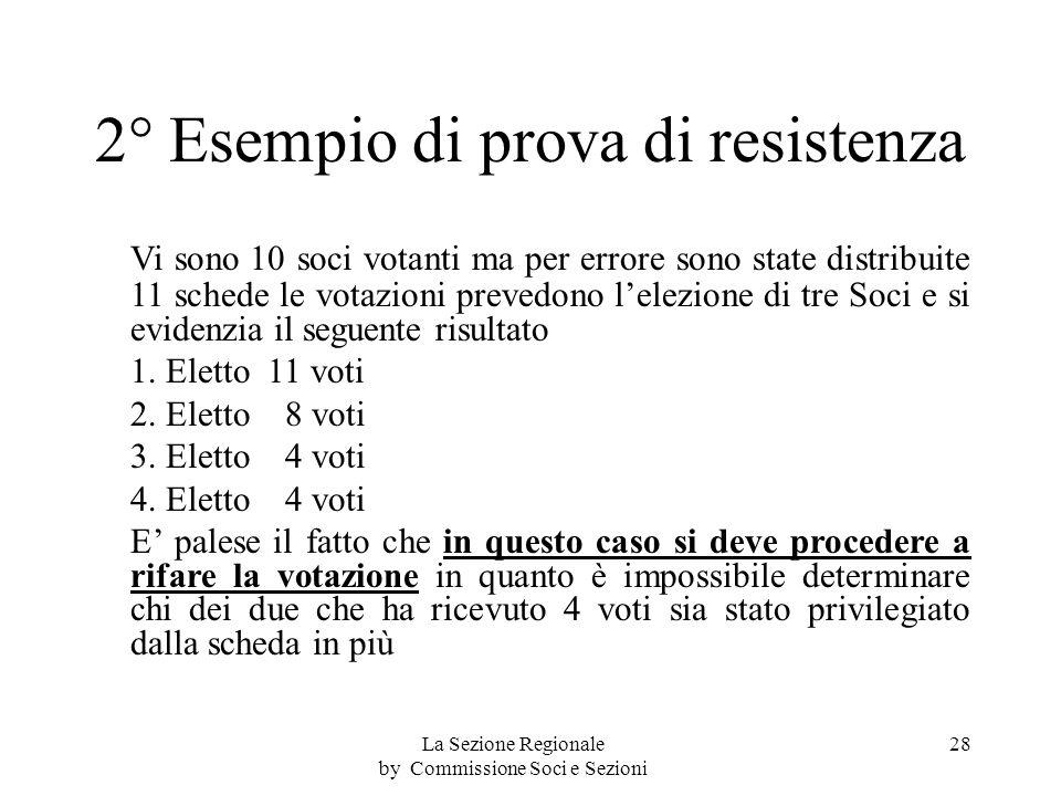 2° Esempio di prova di resistenza Vi sono 10 soci votanti ma per errore sono state distribuite 11 schede le votazioni prevedono lelezione di tre Soci e si evidenzia il seguente risultato 1.