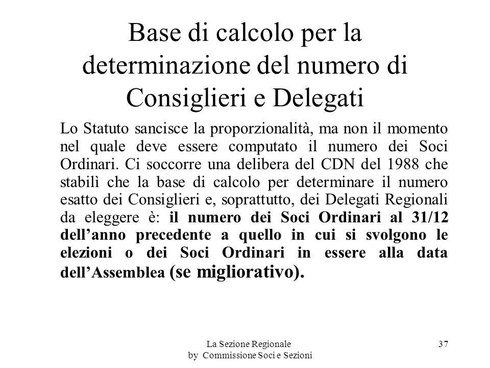 Base di calcolo per la determinazione del numero di Consiglieri e Delegati Lo Statuto sancisce la proporzionalità, ma non il momento nel quale deve essere computato il numero dei Soci Ordinari.