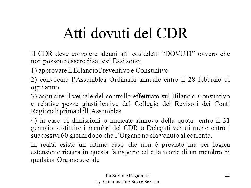 Atti dovuti del CDR Il CDR deve compiere alcuni atti cosiddetti DOVUTI ovvero che non possono essere disattesi.