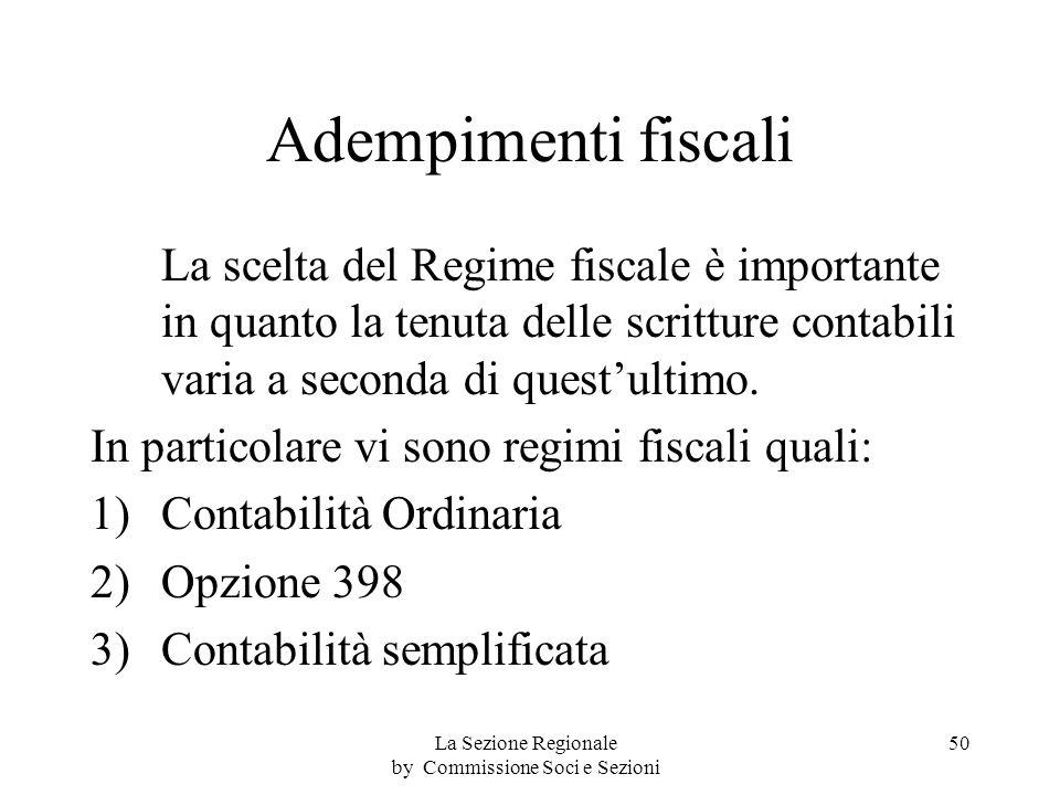 Adempimenti fiscali La scelta del Regime fiscale è importante in quanto la tenuta delle scritture contabili varia a seconda di questultimo.