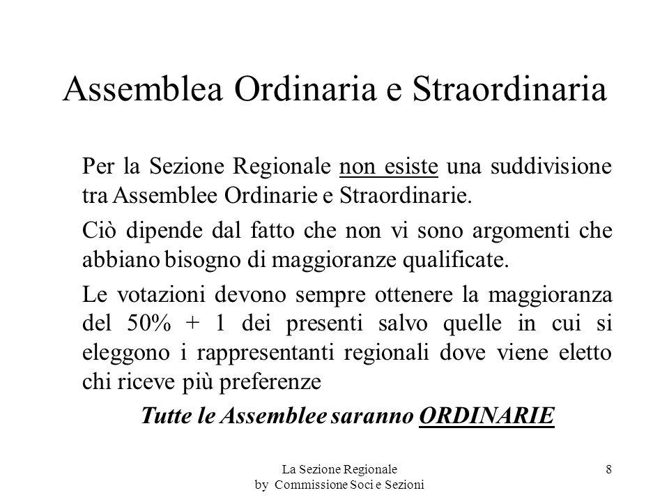 Assemblea Ordinaria e Straordinaria Per la Sezione Regionale non esiste una suddivisione tra Assemblee Ordinarie e Straordinarie.