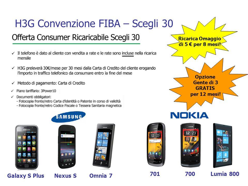 H3G Convenzione FIBA – Scegli 30 Ricarica Omaggio di 5 per 8 mesi! Opzione Gente di 3 GRATIS per 12 mesi! Galaxy S PlusNexus S 701700 Omnia 7 Lumia 80