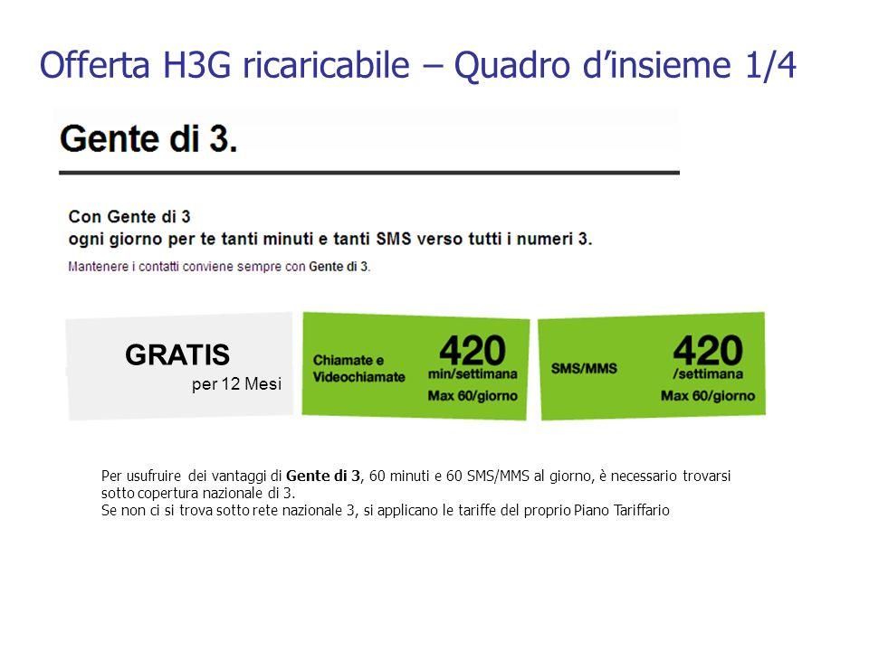 Offerta H3G ricaricabile – Quadro dinsieme 1/4 GRATIS per 12 Mesi Per usufruire dei vantaggi di Gente di 3, 60 minuti e 60 SMS/MMS al giorno, è necess