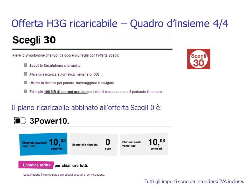 Offerta H3G ricaricabile – Quadro dinsieme 4/4 Tutti gli importi sono da intendersi IVA inclusa. Il piano ricaricabile abbinato allofferta Scegli 0 è:
