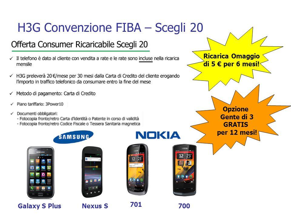 H3G Convenzione FIBA – Scegli 20 Ricarica Omaggio di 5 per 6 mesi! Opzione Gente di 3 GRATIS per 12 mesi! Galaxy S PlusNexus S 701 700