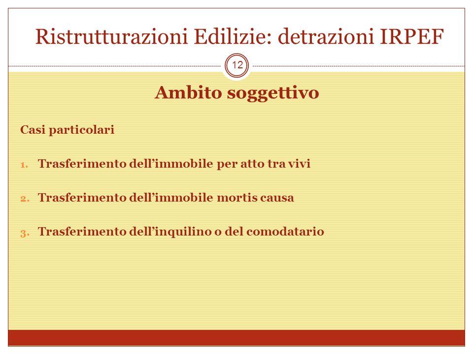 Ristrutturazioni Edilizie: detrazioni IRPEF Ambito soggettivo Casi particolari 1. Trasferimento dellimmobile per atto tra vivi 2. Trasferimento dellim