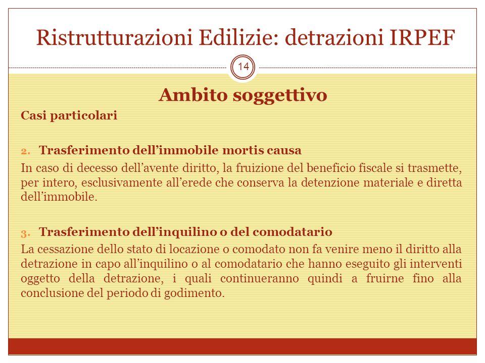 Ristrutturazioni Edilizie: detrazioni IRPEF Ambito soggettivo Casi particolari 2. Trasferimento dellimmobile mortis causa In caso di decesso dellavent
