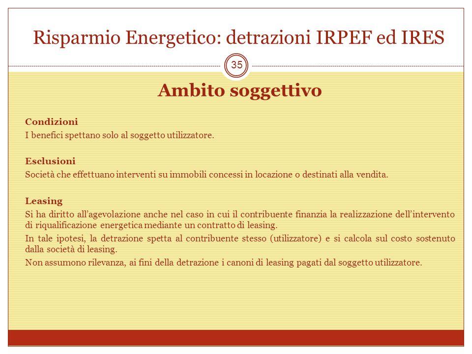Risparmio Energetico: detrazioni IRPEF ed IRES Ambito soggettivo Condizioni I benefici spettano solo al soggetto utilizzatore. Esclusioni Società che