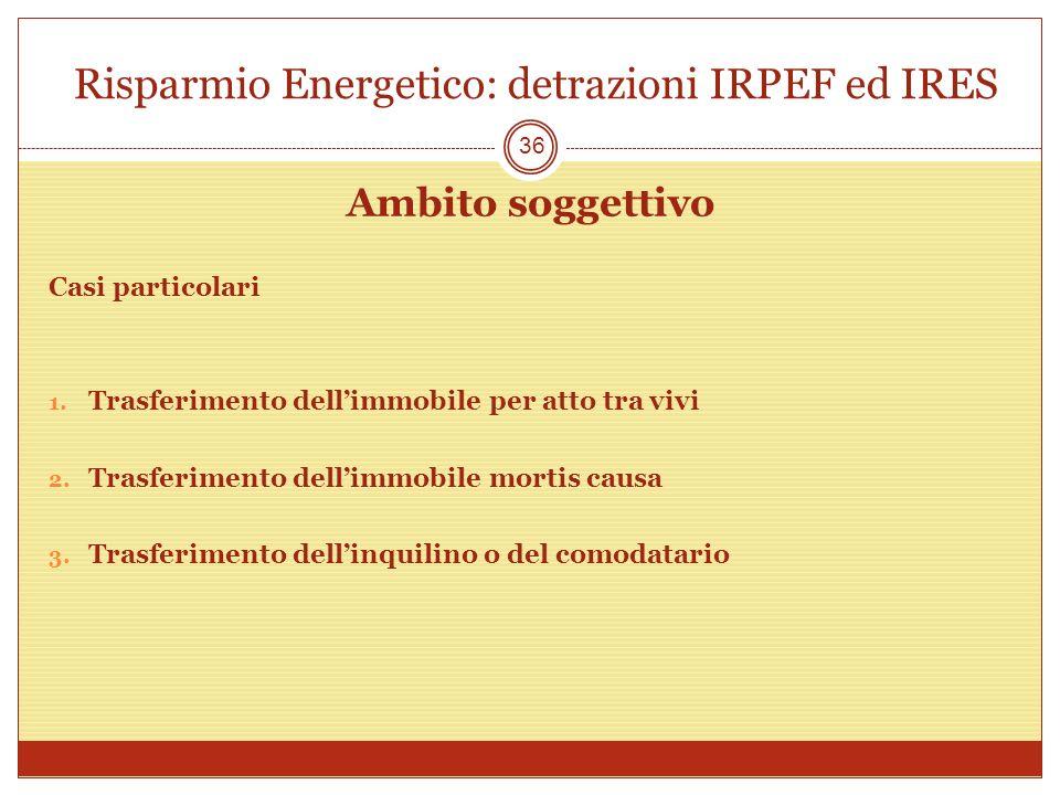 Risparmio Energetico: detrazioni IRPEF ed IRES Ambito soggettivo Casi particolari 1. Trasferimento dellimmobile per atto tra vivi 2. Trasferimento del