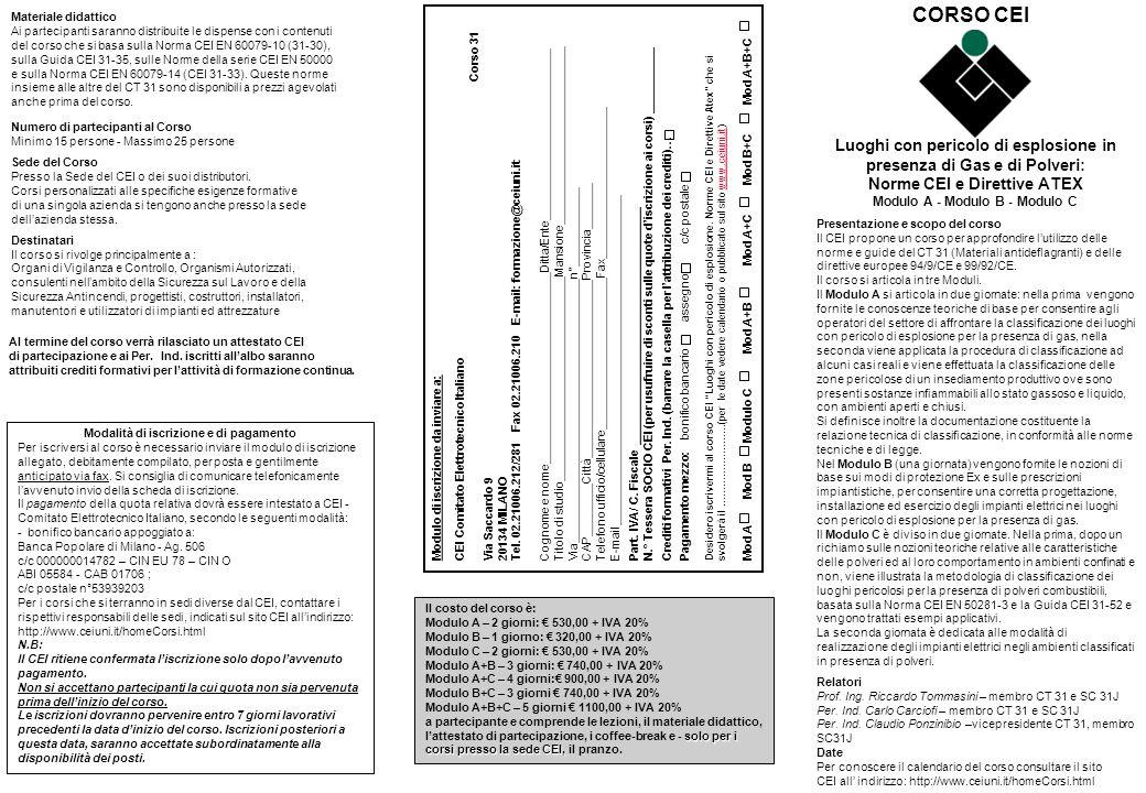 Luoghi con pericolo di esplosione in presenza di Gas e di Polveri: Norme CEI e Direttive ATEX Modulo A - Modulo B - Modulo C Presentazione e scopo del