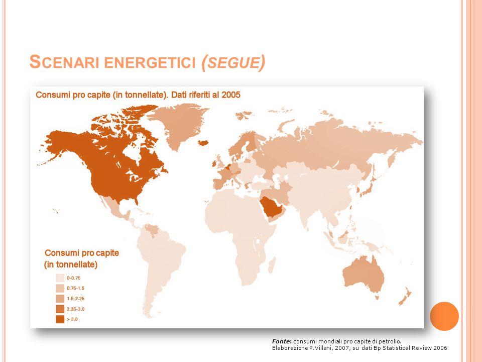 S CENARI ENERGETICI ( SEGUE ) Fonte: consumi mondiali pro capite di petrolio. Elaborazione P.Villani, 2007, su dati Bp Statistical Review 2006
