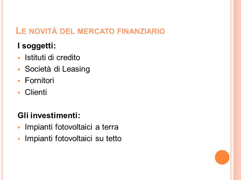 L E NOVITÀ DEL MERCATO FINANZIARIO I soggetti: Istituti di credito Società di Leasing Fornitori Clienti Gli investimenti: Impianti fotovoltaici a terr