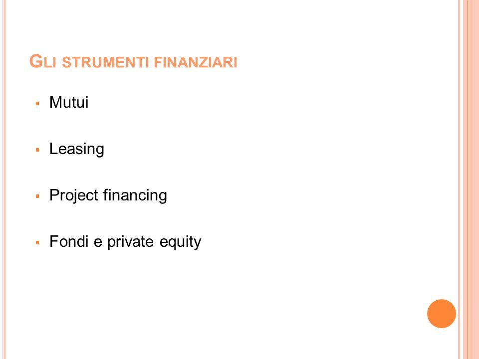 G LI STRUMENTI FINANZIARI Mutui Leasing Project financing Fondi e private equity