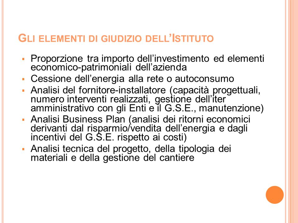 G LI ELEMENTI DI GIUDIZIO DELL I STITUTO Proporzione tra importo dellinvestimento ed elementi economico-patrimoniali dellazienda Cessione dellenergia