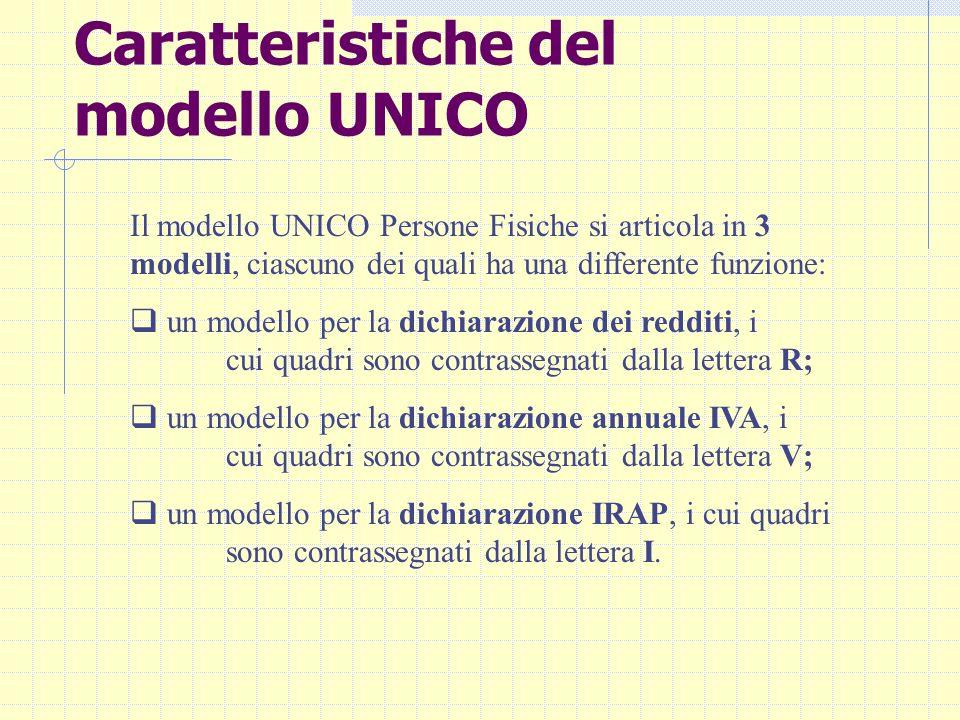 Caratteristiche del modello UNICO Il modello UNICO Persone Fisiche si articola in 3 modelli, ciascuno dei quali ha una differente funzione: un modello