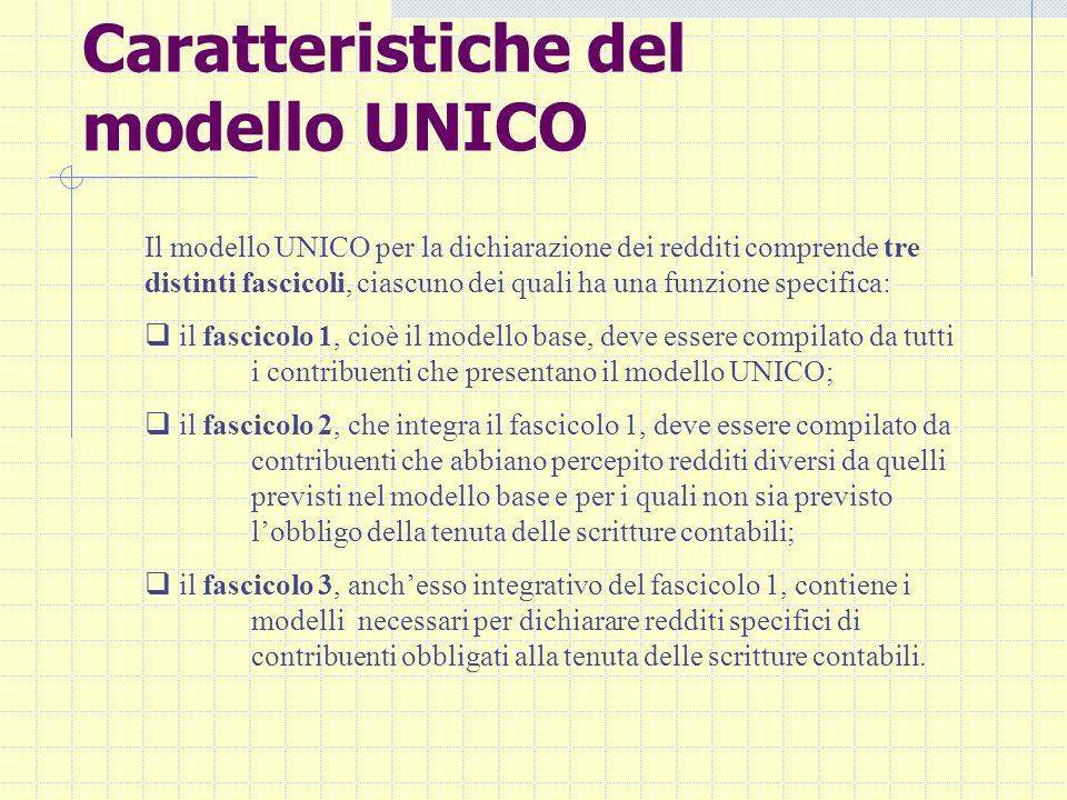 Caratteristiche del modello UNICO Il modello UNICO per la dichiarazione dei redditi comprende tre distinti fascicoli, ciascuno dei quali ha una funzio