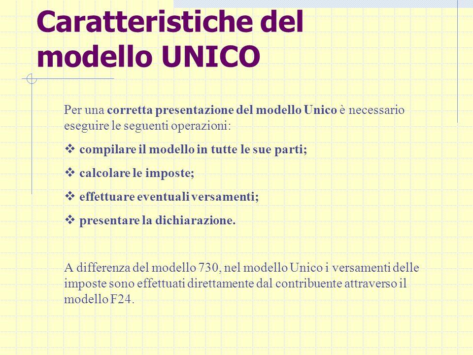 Caratteristiche del modello UNICO Per una corretta presentazione del modello Unico è necessario eseguire le seguenti operazioni: compilare il modello