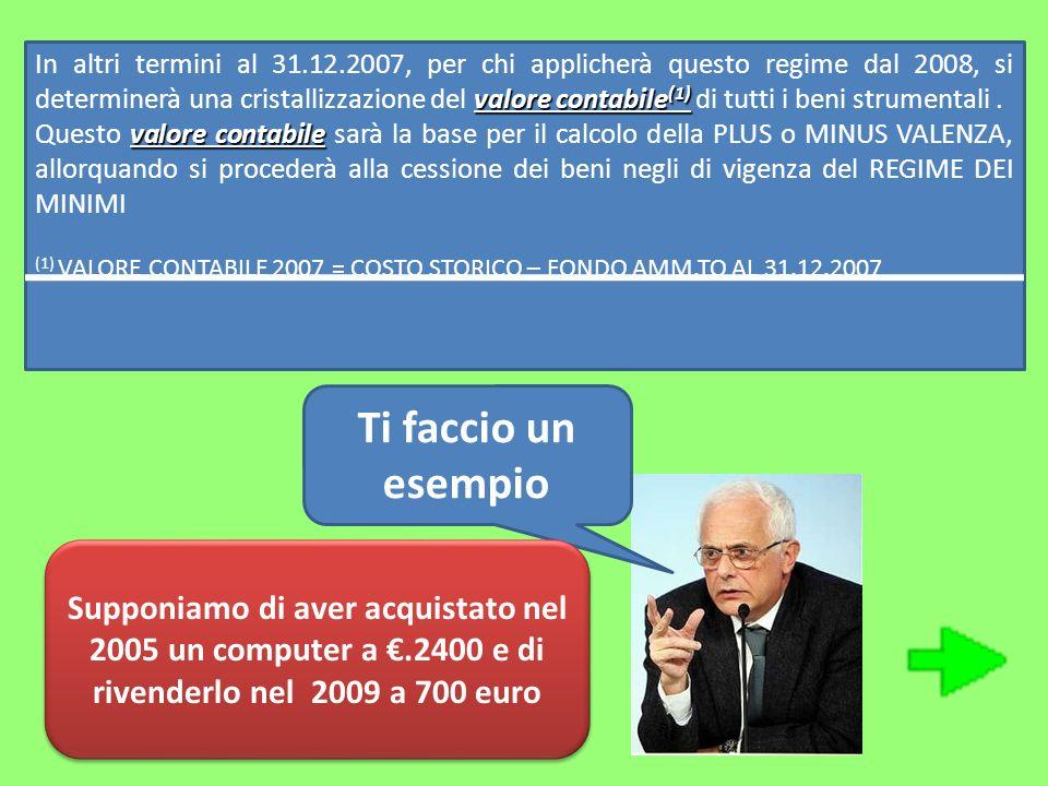 valore contabile (1) In altri termini al 31.12.2007, per chi applicherà questo regime dal 2008, si determinerà una cristallizzazione del valore contab
