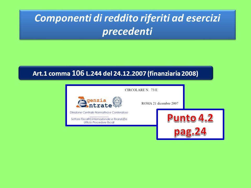 Componenti di reddito riferiti ad esercizi precedenti Art.1 comma 106 L.244 del 24.12.2007 (finanziaria 2008)