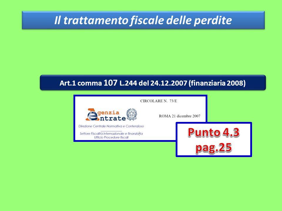 Il trattamento fiscale delle perdite Art.1 comma 107 L.244 del 24.12.2007 (finanziaria 2008)