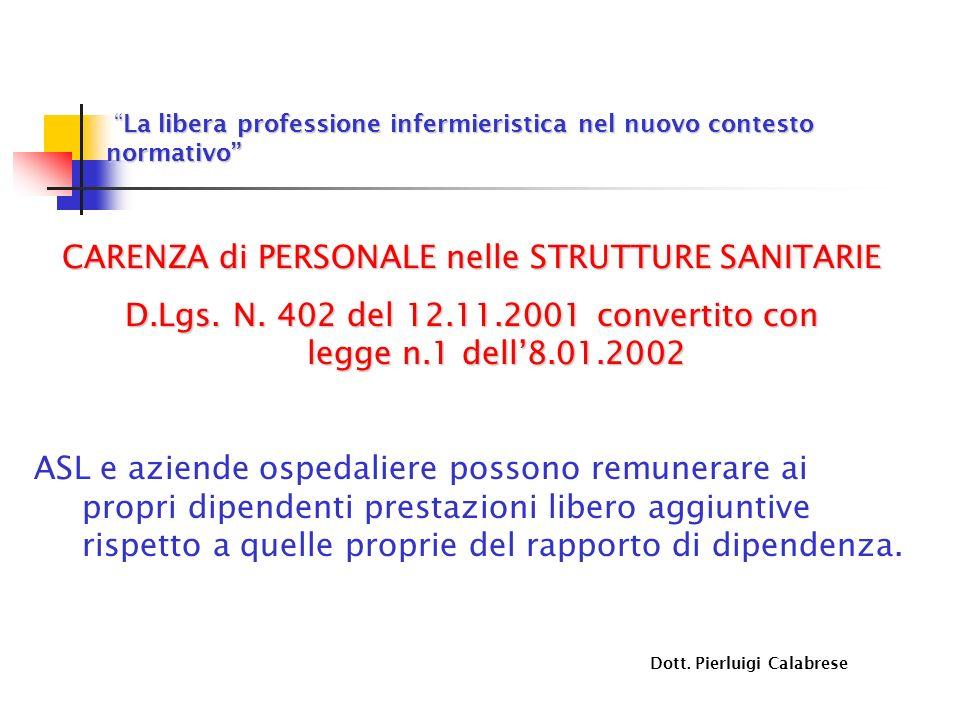 La libera professione infermieristica nel nuovo contesto normativo La libera professione infermieristica nel nuovo contesto normativo CARENZA di PERSONALE nelle STRUTTURE SANITARIE D.Lgs.
