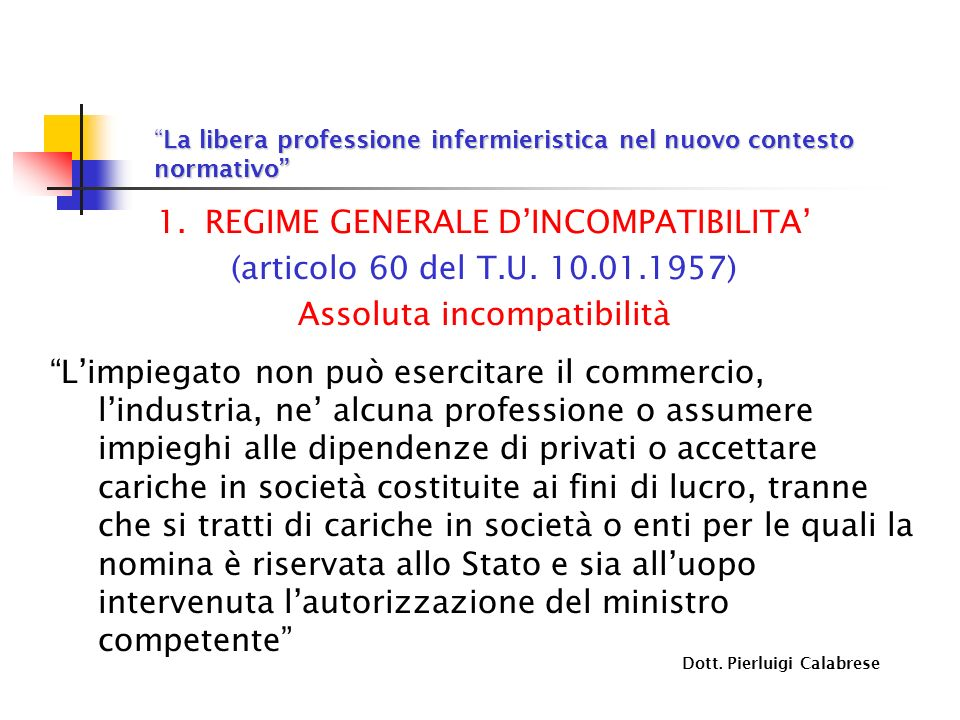 La libera professione infermieristica nel nuovo contesto normativoLa libera professione infermieristica nel nuovo contesto normativo 1.REGIME GENERALE