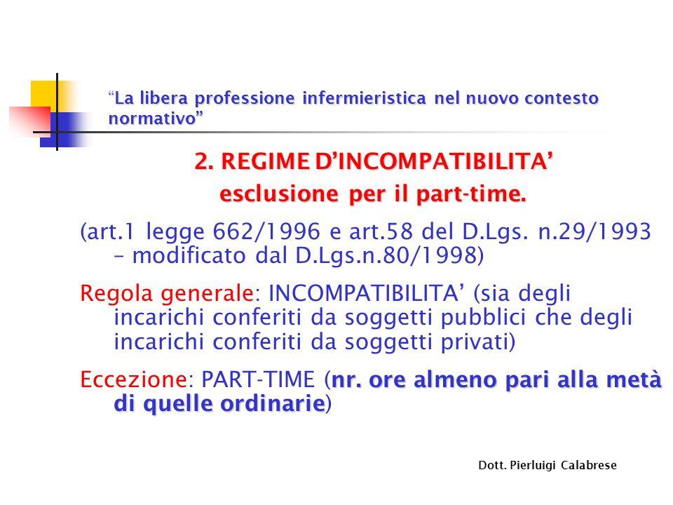 La libera professione infermieristica nel nuovo contesto normativoLa libera professione infermieristica nel nuovo contesto normativo 2. REGIME DINCOMP