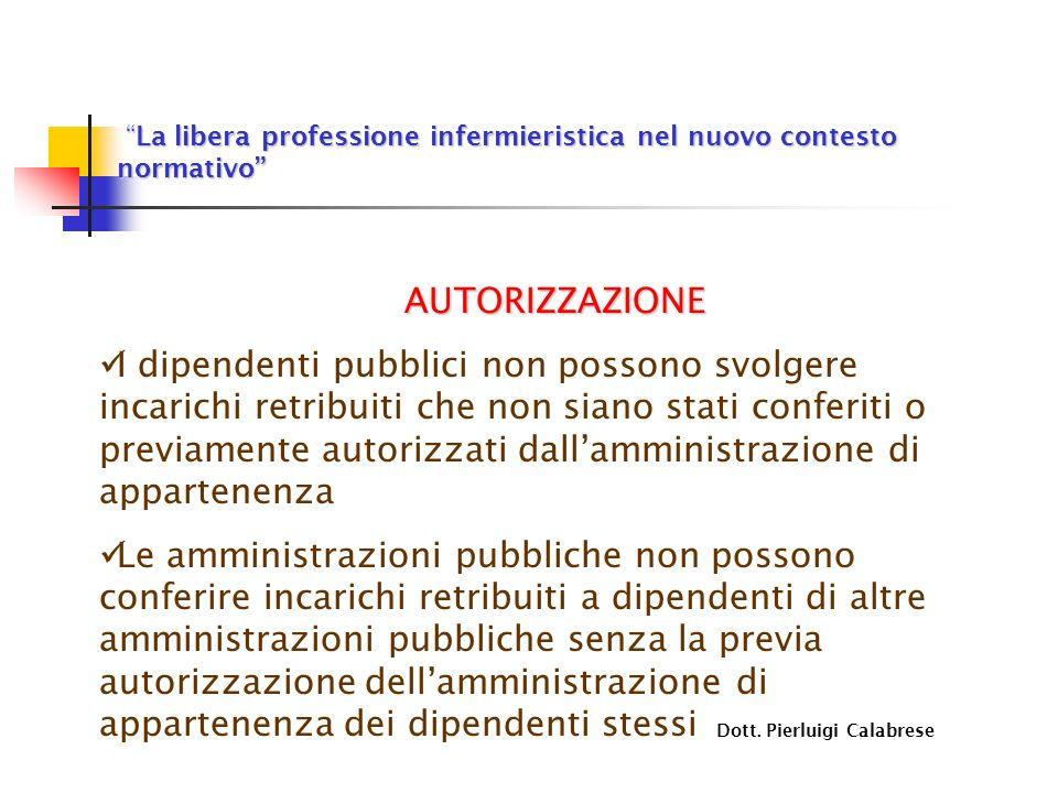 La libera professione infermieristica nel nuovo contesto normativo La libera professione infermieristica nel nuovo contesto normativo AUTORIZZAZIONE I