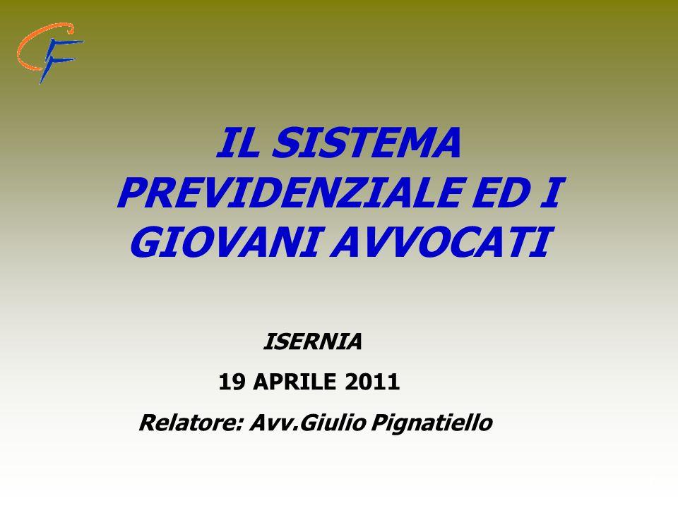 1 IL SISTEMA PREVIDENZIALE ED I GIOVANI AVVOCATI ISERNIA 19 APRILE 2011 Relatore: Avv.Giulio Pignatiello