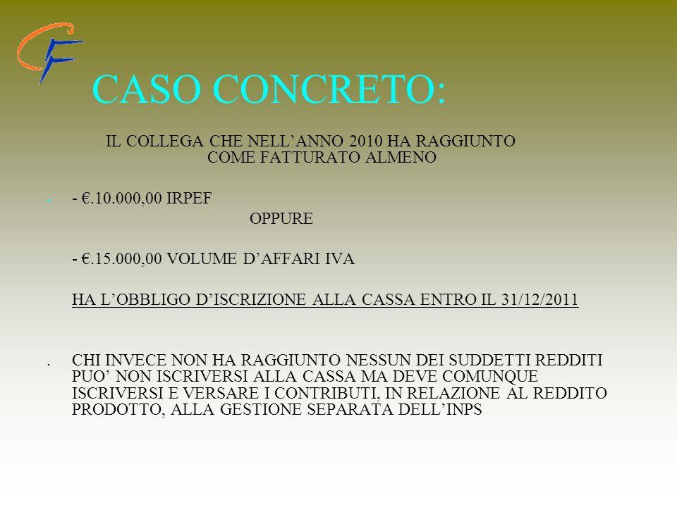 CASO CONCRETO: IL COLLEGA CHE NELLANNO 2010 HA RAGGIUNTO COME FATTURATO ALMENO - - -.10.000,00 IRPEF OPPURE -.15.000,00 VOLUME DAFFARI IVA HA LOBBLIGO