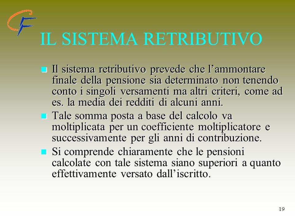 19 IL SISTEMA RETRIBUTIVO Il sistema retributivo prevede che lammontare finale della pensione sia determinato non tenendo conto i singoli versamenti m