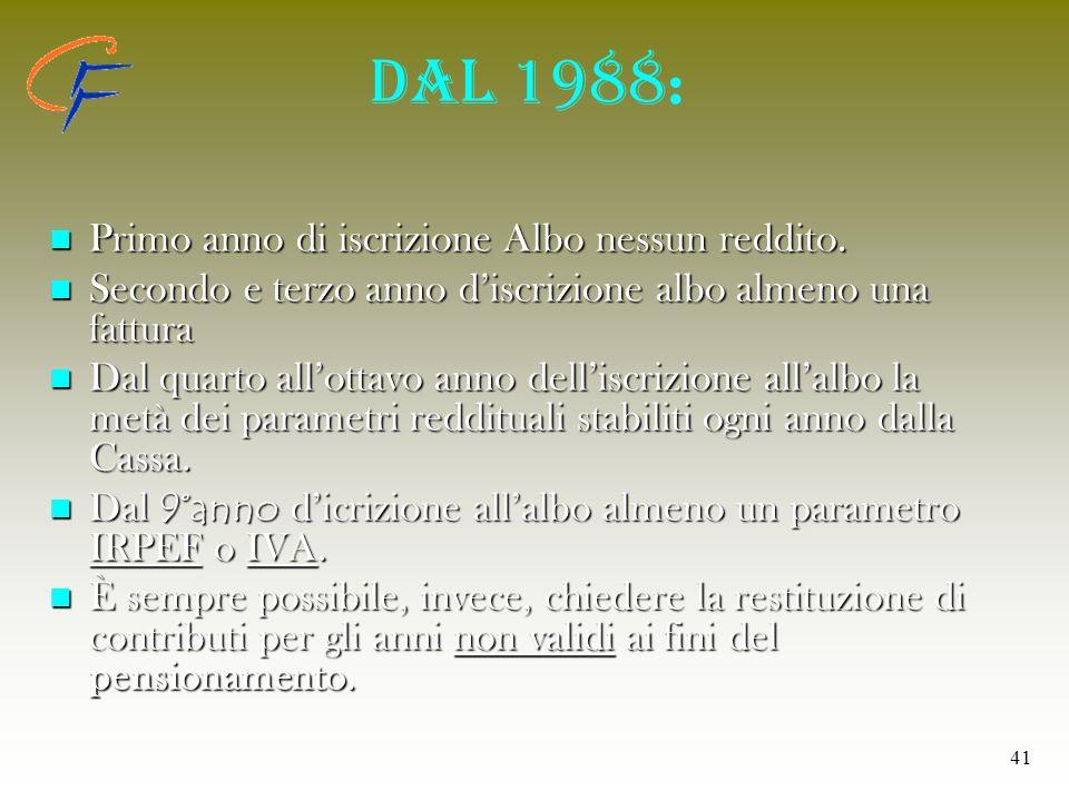 41 Dal 1988 : Primo anno di iscrizione Albo nessun reddito. Primo anno di iscrizione Albo nessun reddito. Secondo e terzo anno discrizione albo almeno