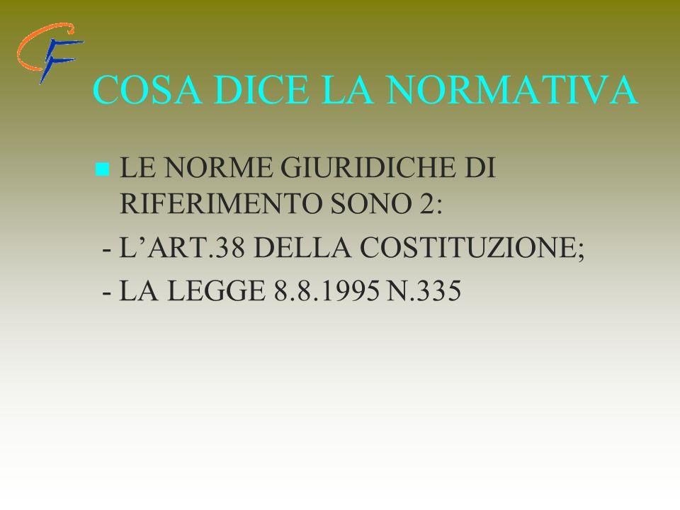 COSA DICE LA NORMATIVA LE NORME GIURIDICHE DI RIFERIMENTO SONO 2: - LART.38 DELLA COSTITUZIONE; - LA LEGGE 8.8.1995 N.335