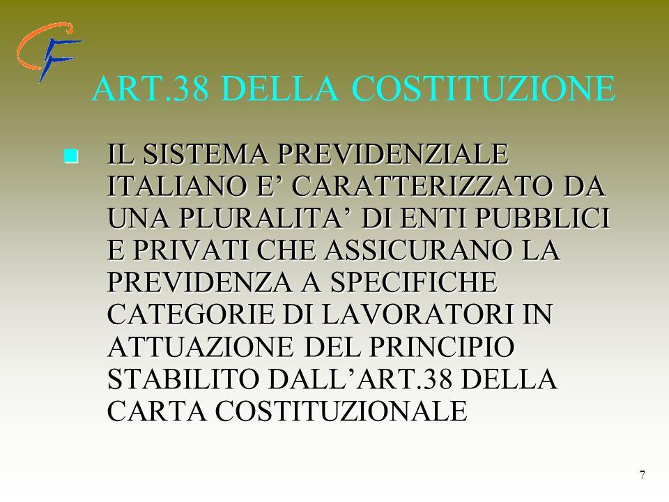 7 ART.38 DELLA COSTITUZIONE IL SISTEMA PREVIDENZIALE ITALIANO E CARATTERIZZATO DA UNA PLURALITA DI ENTI PUBBLICI E PRIVATI CHE ASSICURANO LA PREVIDENZ