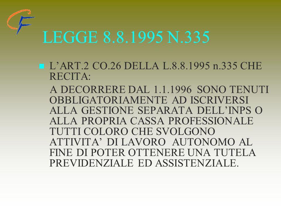 LEGGE 8.8.1995 N.335 LART.2 CO.26 DELLA L.8.8.1995 n.335 CHE RECITA: A DECORRERE DAL 1.1.1996 SONO TENUTI OBBLIGATORIAMENTE AD ISCRIVERSI ALLA GESTION