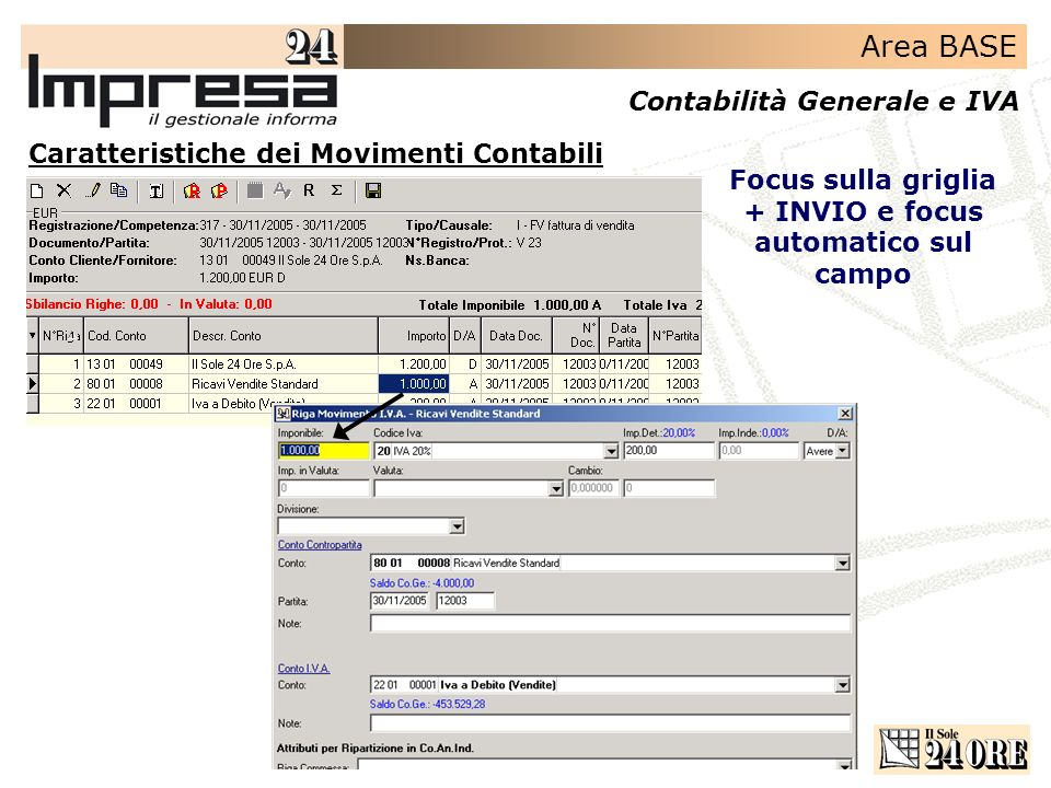 Area BASE Contabilità Generale e IVA Focus sulla griglia + INVIO e focus automatico sul campo Caratteristiche dei Movimenti Contabili