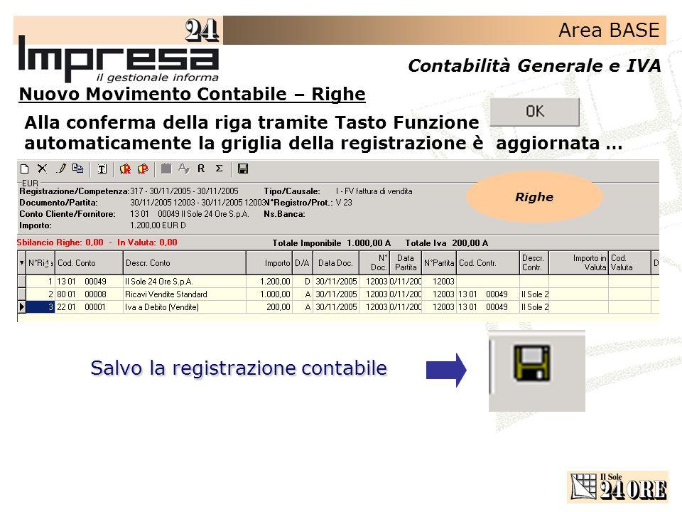 Area BASE Contabilità Generale e IVA Alla conferma della riga tramite Tasto Funzione automaticamente la griglia della registrazione è aggiornata … Sal