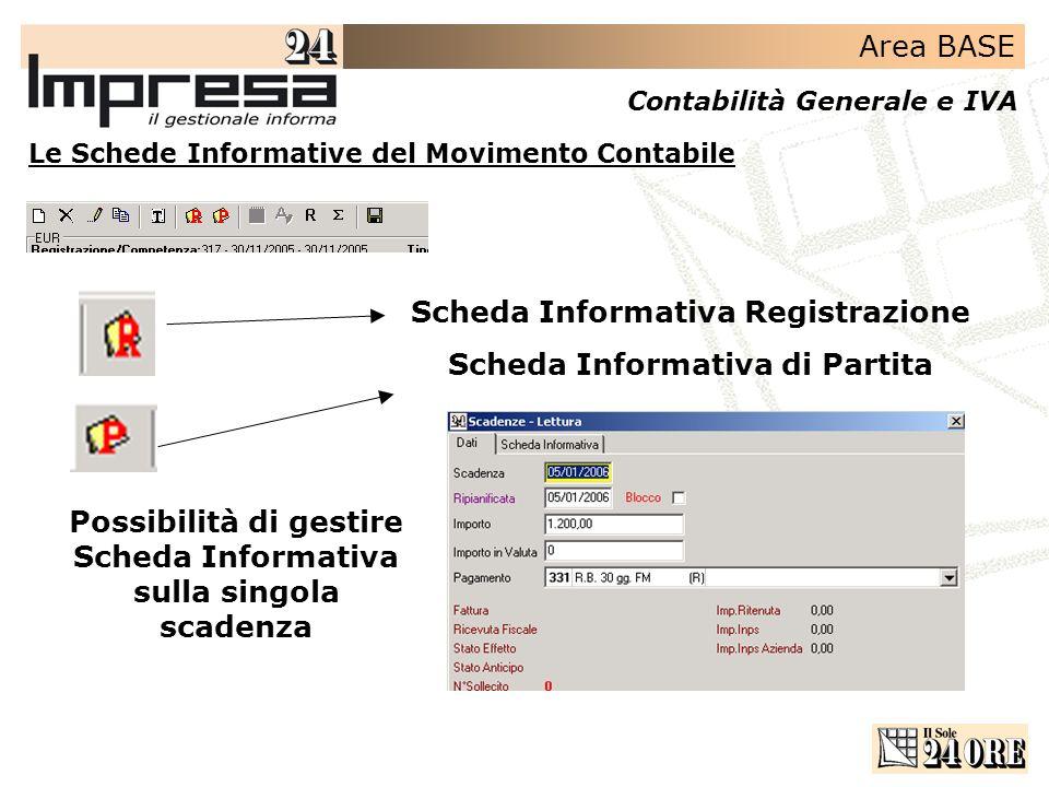 Area BASE Contabilità Generale e IVA Scheda Informativa Registrazione Scheda Informativa di Partita Possibilità di gestire Scheda Informativa sulla si
