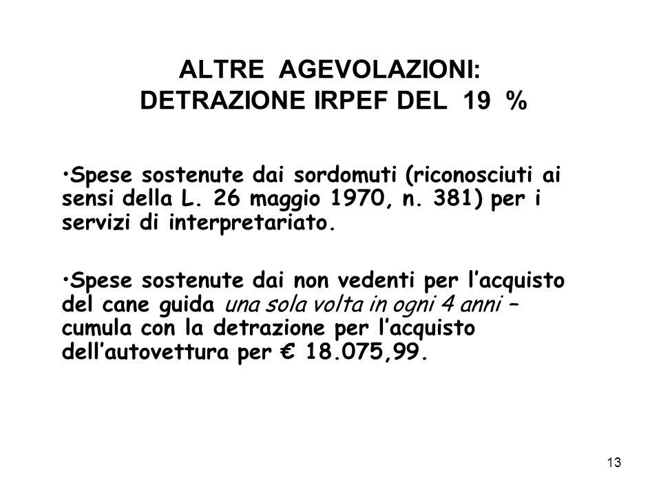 13 ALTRE AGEVOLAZIONI: DETRAZIONE IRPEF DEL 19 % Spese sostenute dai sordomuti (riconosciuti ai sensi della L.